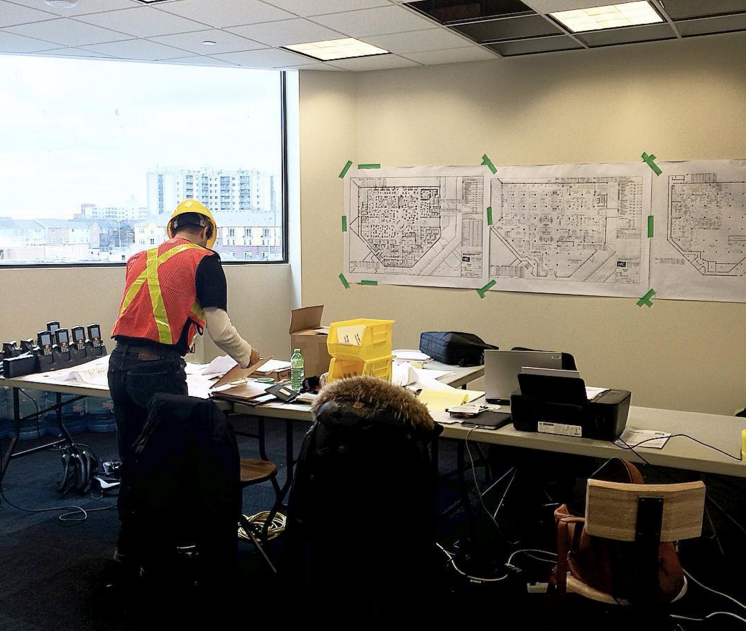 Inside the Sherway construction office. Photo: Saks, via Instagram