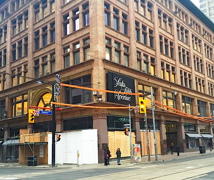 Corner of Yonge Street and Queen Street West on February 8, 2016. Photo: Saks via Instagram