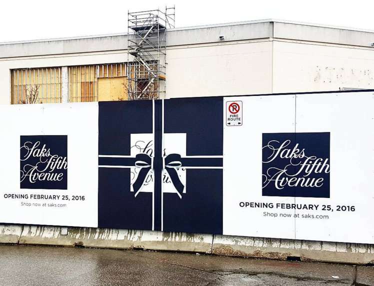 Outside the Sherway store on February 9. Photo: Saks via Instagram
