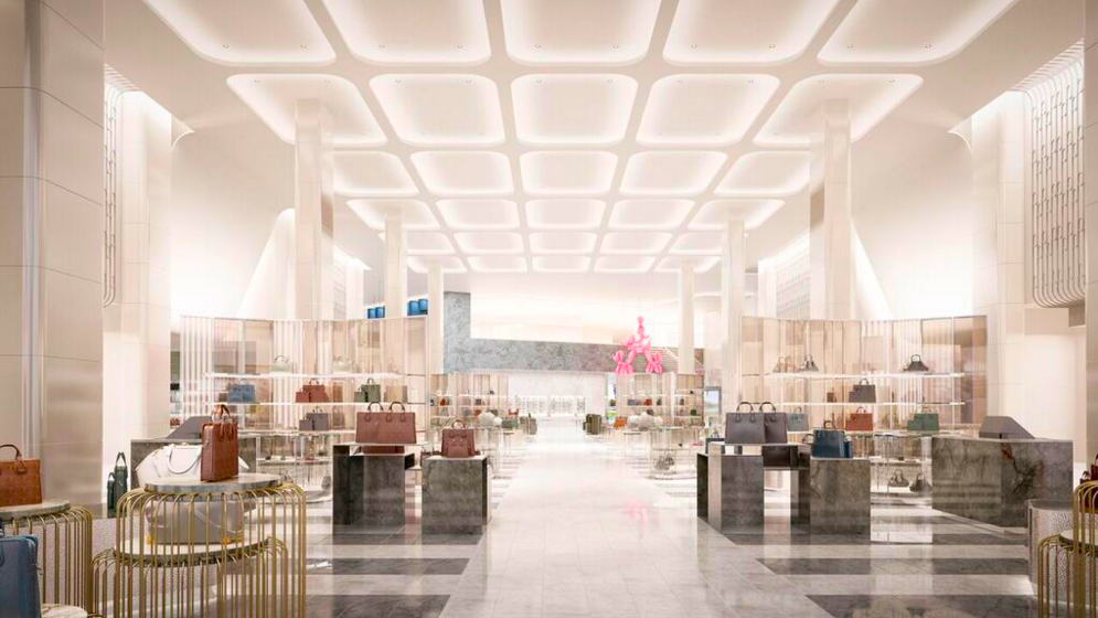 Handbags hall with soaring ceilings. Rendering: Janson Goldstein via Holt Renfrew