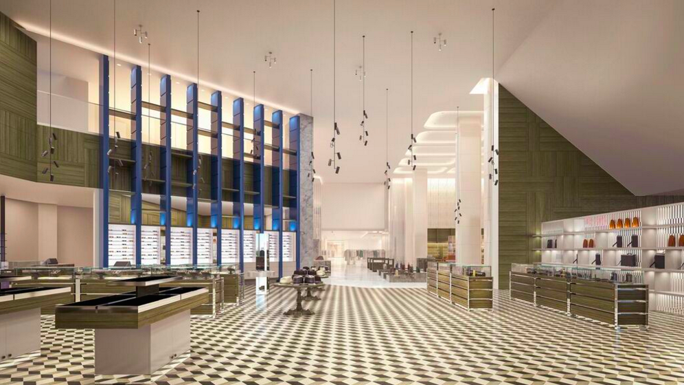 Accessories hall, featuring soaring ceilings. Rendering: Janson Goldstein via Holt Renfrew