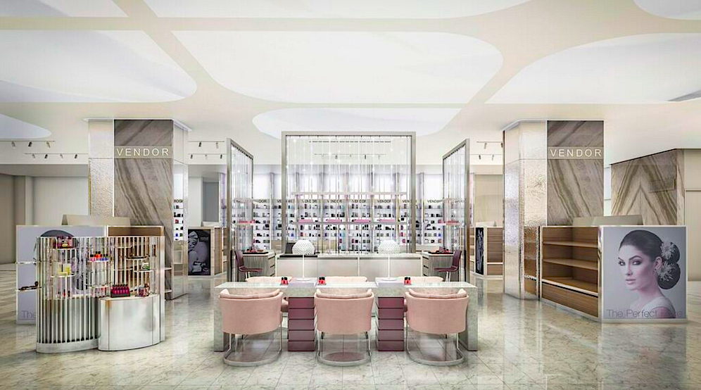 Cosmetics department. Rendering: Janson Goldstein via Holt Renfrew