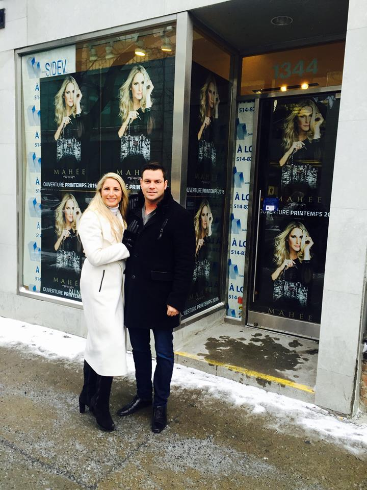 Mahee Paiement and Jean-François Comeau in front of the new store. Photo: Mahée.