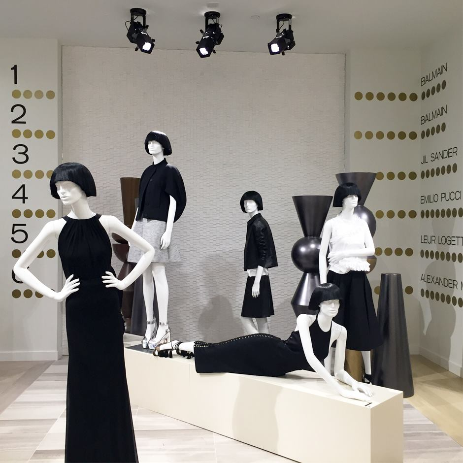 Women's designer display, featuring designers: Balmain, Jil Sander, Pucci and others. Photo: CF Sherway Gardens