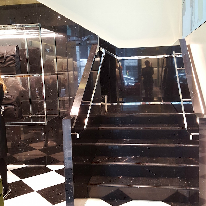Black marble staircase. Photos above and below: Helen Siwak of @Eco.Lux.Luv