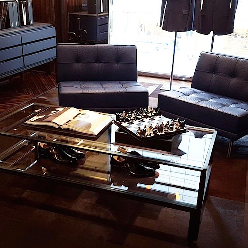 Men's made-to-measure lounge, featuring 'Wilson Purple' chairs. Photo: Helen Siwak of @Eco.Lux.Luv