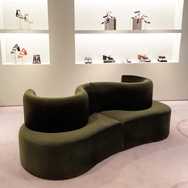 Footwear on the store's ground floor, featuring 'Clover Leaf' sofa. Photo: Helen Siwak of @Eco.Lux.Luv
