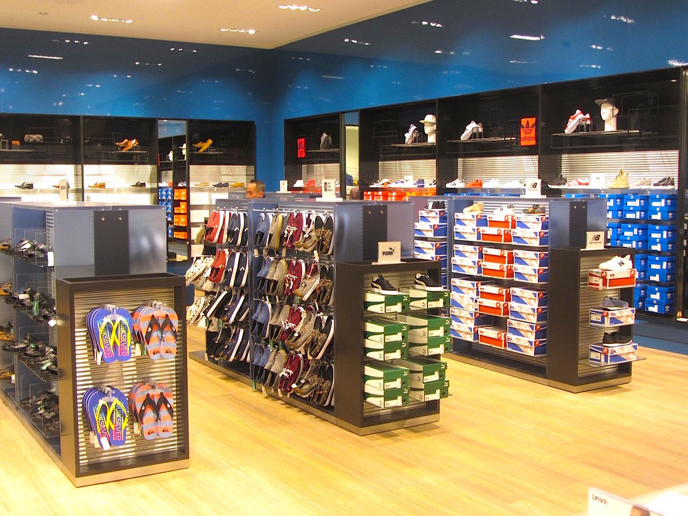 One of two men's footwear departments. Photo: Norman Katz