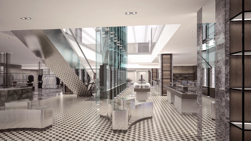 New men's store atrium. Rendering: Holt Renfrew