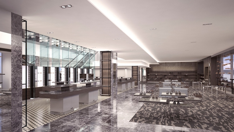 Men's footwear department. Rendering: Holt Renfrew