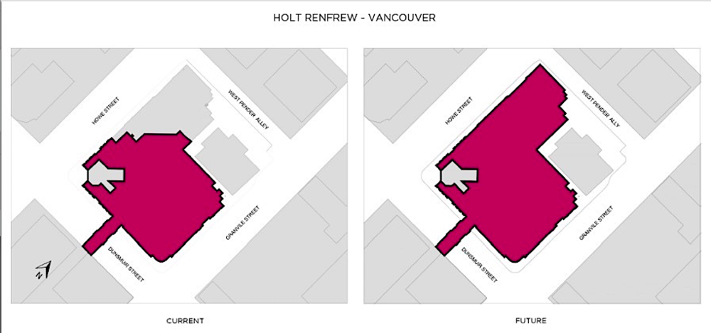 Holt's is expanding along Howe Street, growing from 30' frontage to 200'. Plan: Holt Renfrew