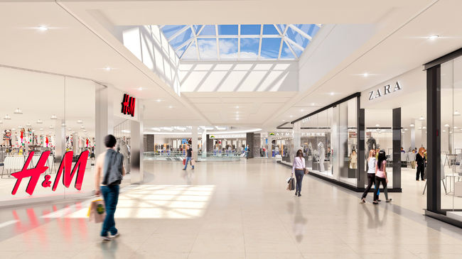 Former Sears space will feature new retailers and skylight. Rendering: Cadillac Fairview
