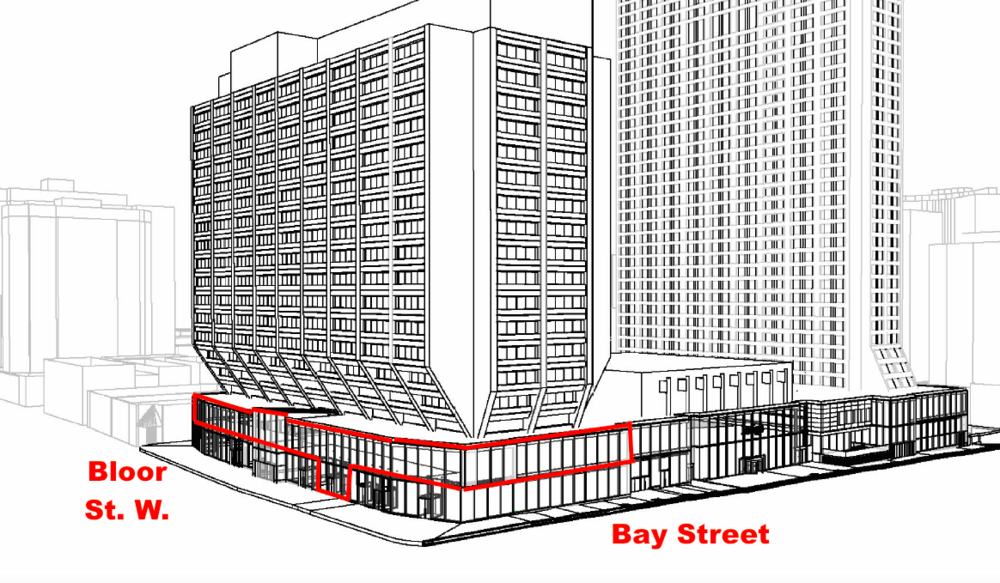 Rendering with Eataly outlined in red. Most of Eataly's retail space would be on Manulife Centre's second level.