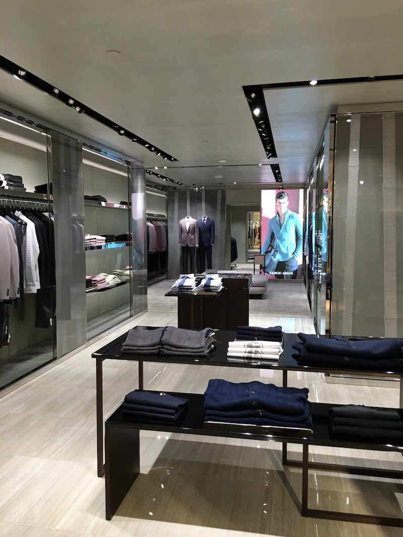 Inside the new Giorgio Armani boutique. Photo:  Maxime Frechette .