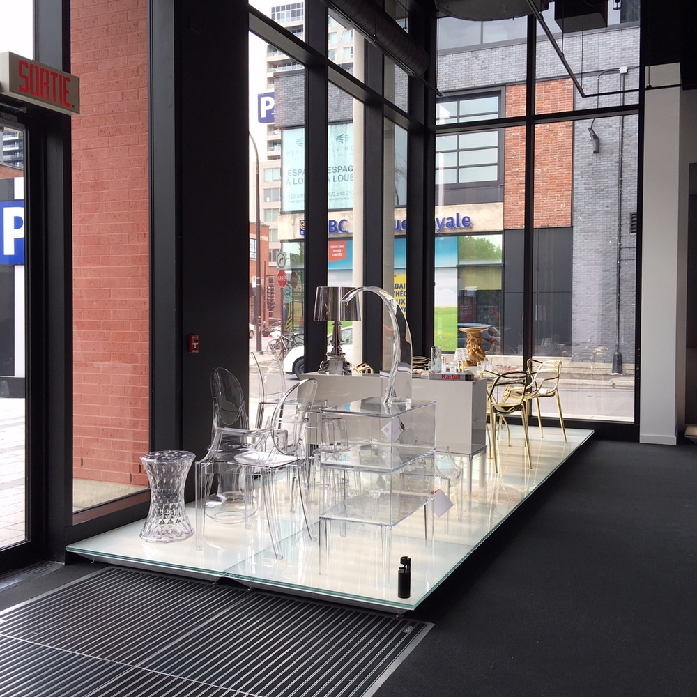 Transparent furniture pieces on display in the new Kartell store in Montreal. Photo: Maxime Frechette