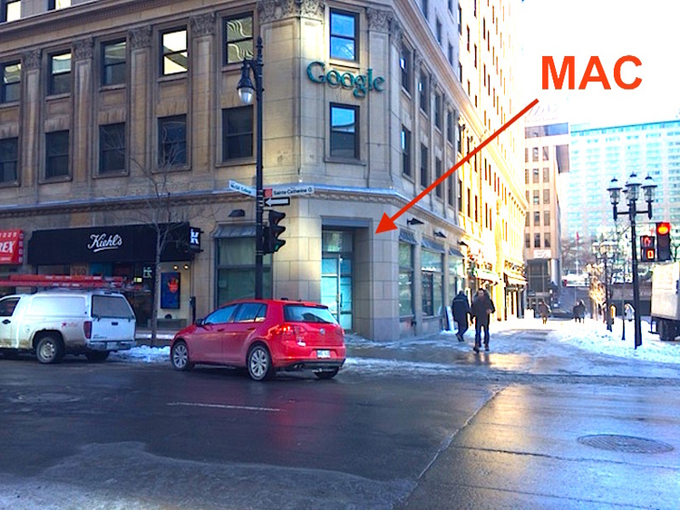 Photo by Maxime Frechette from March of 2016, showing the new Montreal MAC Cosmetics store location. Exterior signage has yet to be installed on the new Montreal store, so we were not provided an updated exterior photo for this article.