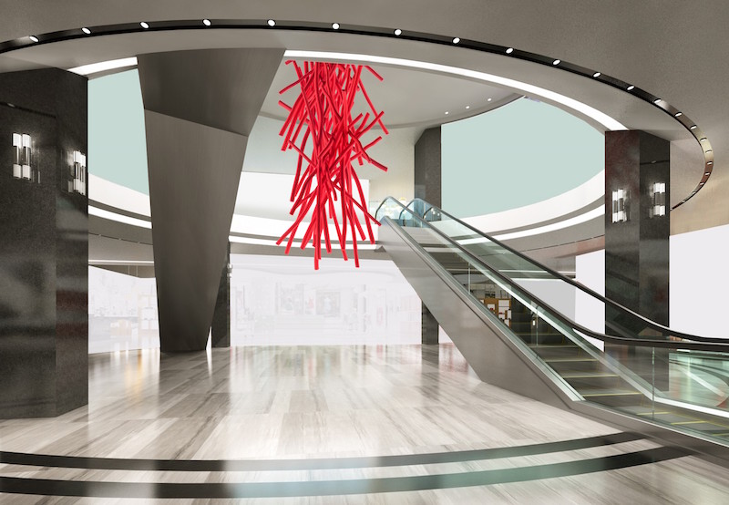 'Torrential Red', a striking installation by Shayne Dark, will be suspended in the centre of the store in Simons' escalator atrium, connecting the bottom and top floors.
