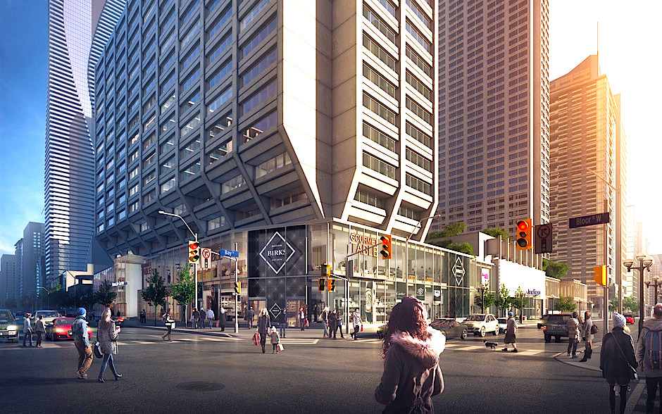 Manulife Centre retail expansion, rendering via B+H Architects.