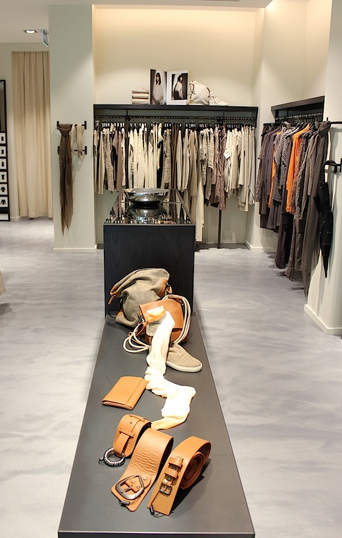 Accessories displayed in the centre of the Yorkville store.