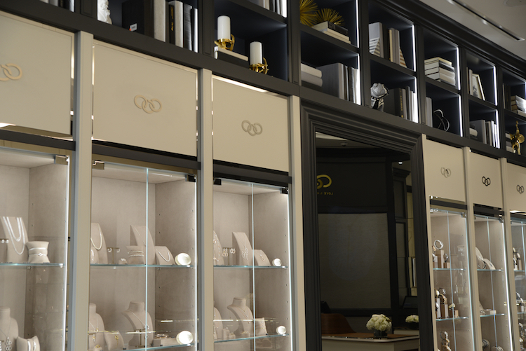 Book cases provide a residential theme to the 'London townhouse' store. Photo: Tom Sandler