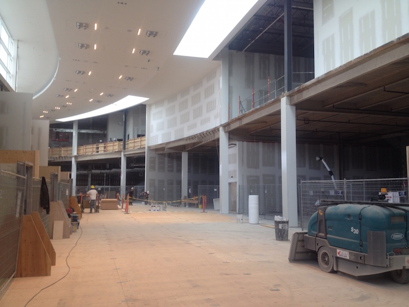 Looking north towards Uniqlo and Muji, which will both feature curved facades.