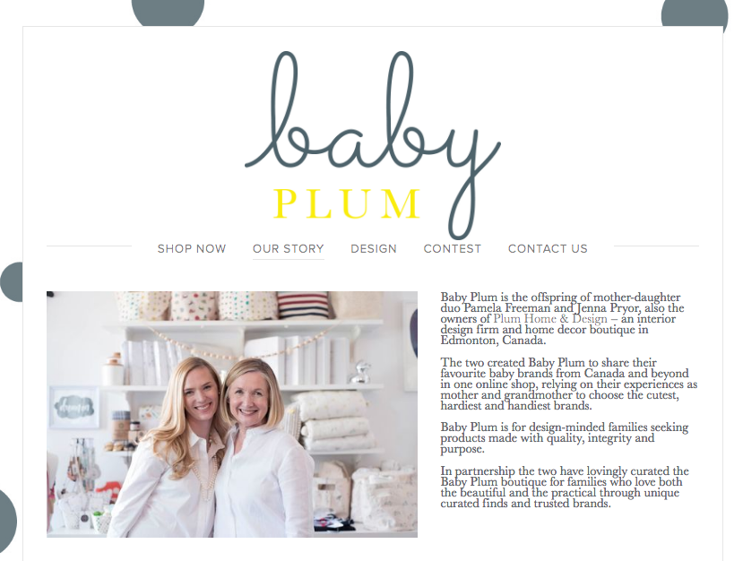 Screen capture from Baby Plum website, profiling mother/daughter team.