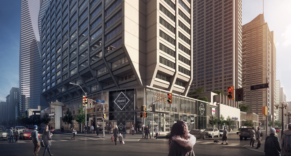 Expanded Manulife Centre podium, rendering via B+H Architects