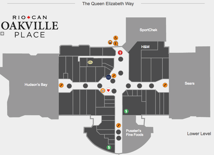 Click map above for interactive version, via RioCan Oakville Place website.