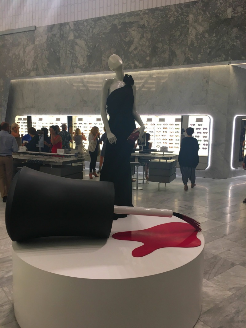 Fun display in the store, with the sunglasses department in behind. Marble features prominently throughout the store. Photo: Chantal Mizerski, Retail Council of Canada.
