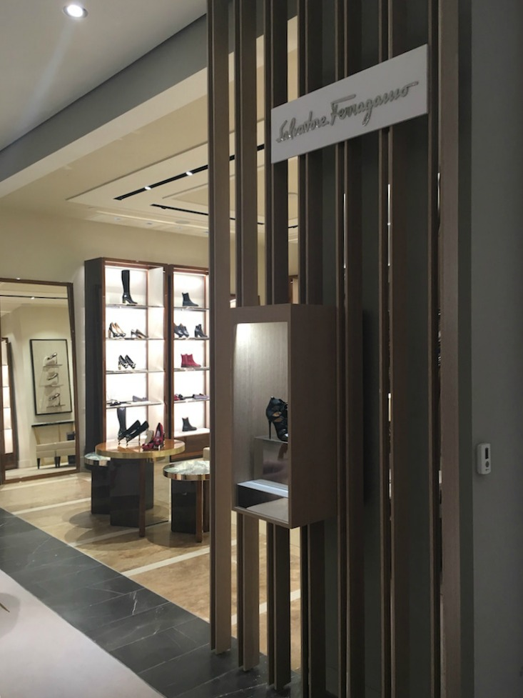 Salvatore Ferragamo women's footwear boutique. Photo: Chantal Mizerski, Retail Council of Canada.