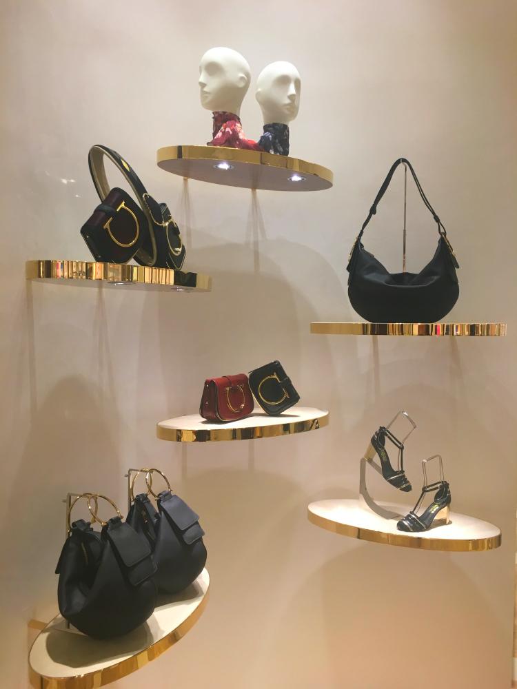 Artful display in the new Mississauga Ferragamo. Photo: Chantal Mizerski, Retail Council of Canada.