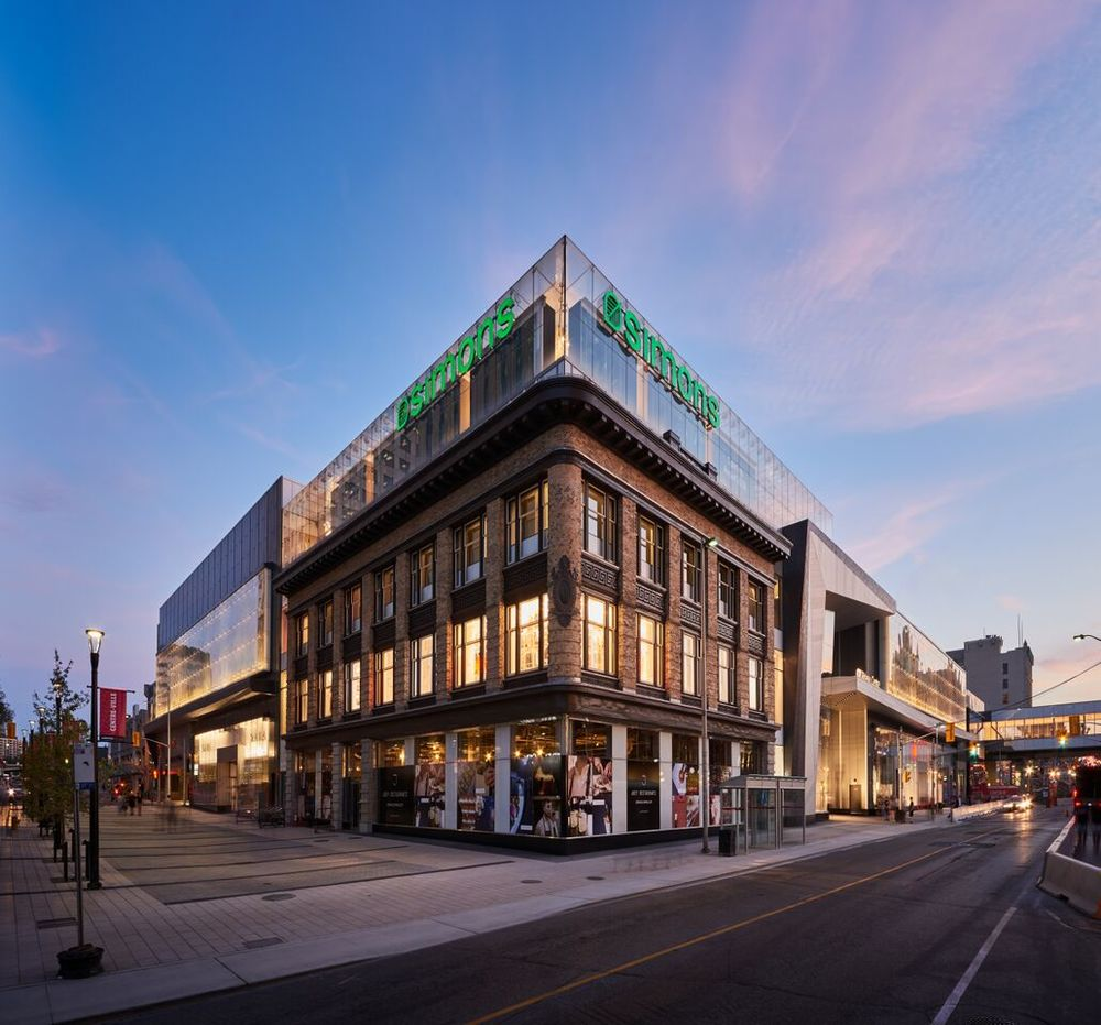 Corner of St. Nicholas and Rideau Streets, with a restored heritage facade of the former Ogilvy store. Photo: Chris Lalonde of Photolux Studios for Cadillac Fairview