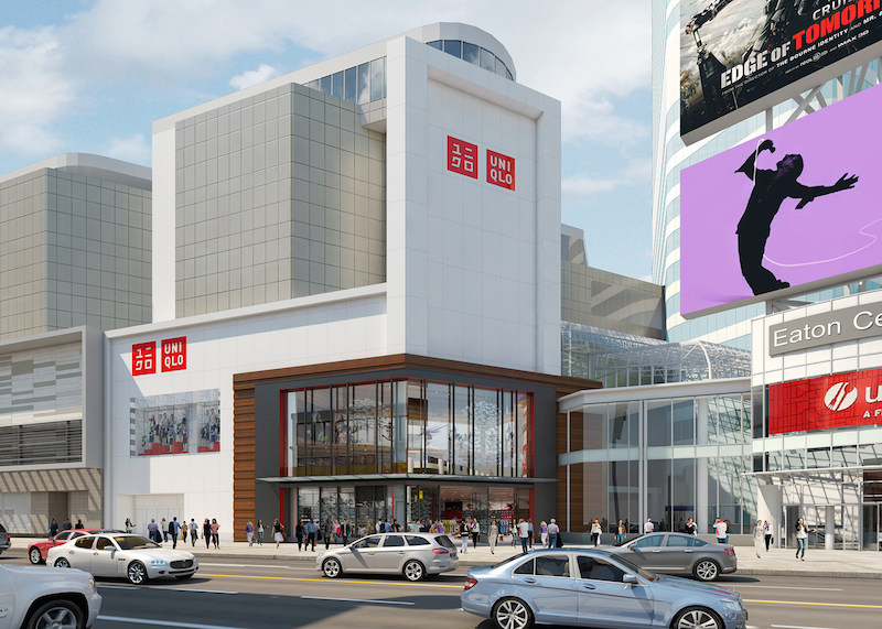 Rendering of the CF Toronto Eaton Centre Uniqlo-branded facade. Image supplied.