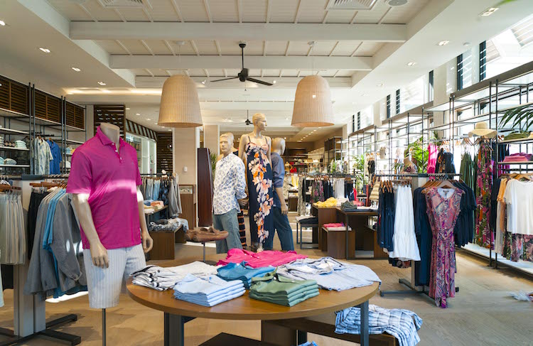 Inside the 'new look' Tommy Bahama store, featuring the 'Modern Beach House' design.