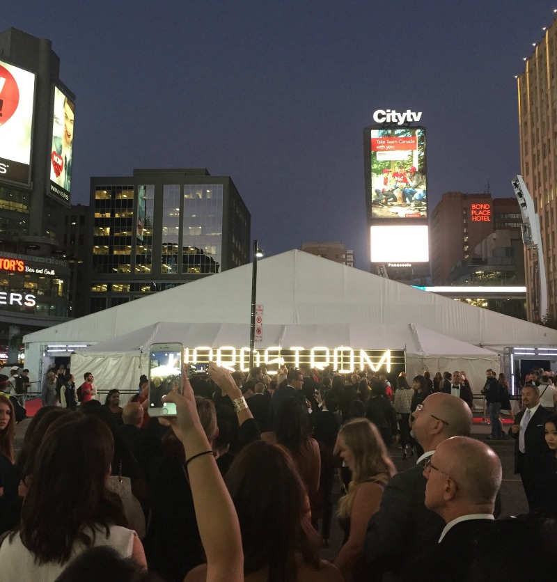 Wednesday, September 14 gala: walking to the tent on Dundas Square, featuring two fashion runway shows. Photo: Devon Johnson
