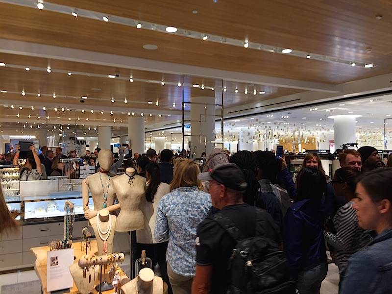 Shoppers move past the store's ground floor jewellery area. Photo: Devon Johnson.