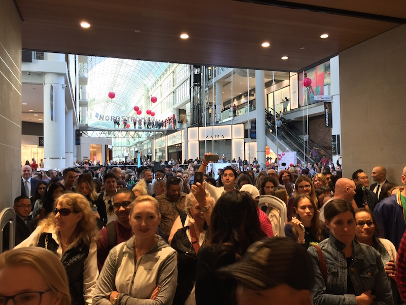 Gates open and hoards of shoppers descend on the new Nordstrom store at CF Toronto Eaton Centre.   Photo: Devon Johnson