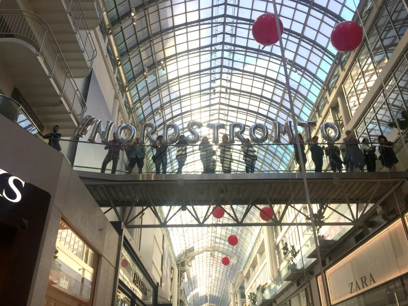 Looking up from the entrance of Nordstrom at CF Toronto Eaton Centre southward, with 'NORDSTROMTO' Spelled out in balloons. Photo: Devon Johnson