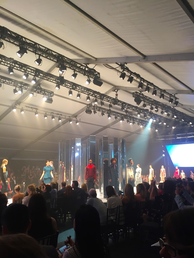 Fashion show inside the tent on Dundas Square.   Photo: Devon Johnson