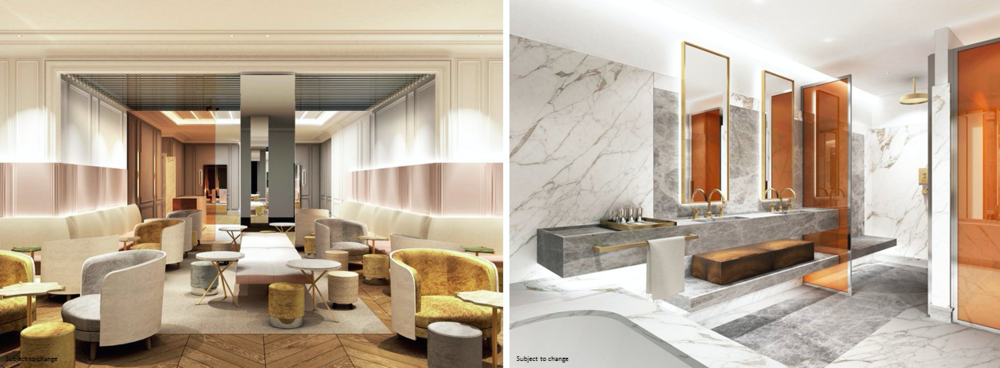 Rendering of the Four Seasons hotel lobby on the left, and within a Four Seasons Private Residence on the right, via Carbonleo.