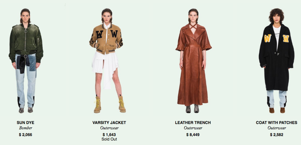 Click above to view women's Off-White e-commerce site (US$)