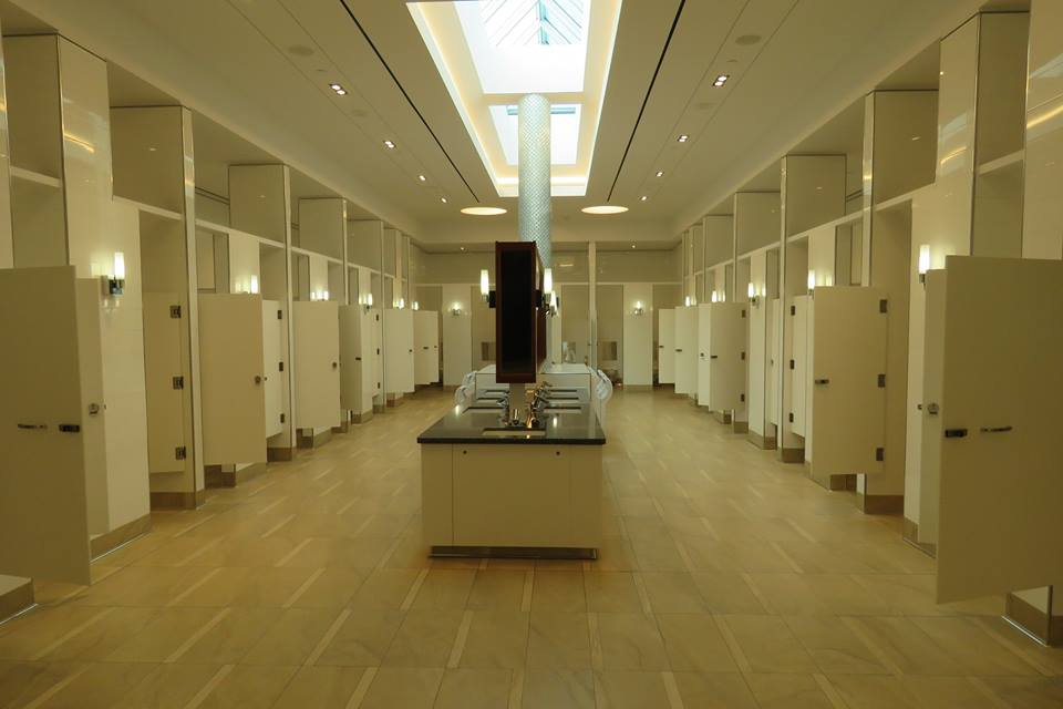 Impressive new women's washroom, featuring natural light. Photo: Christa Patterson