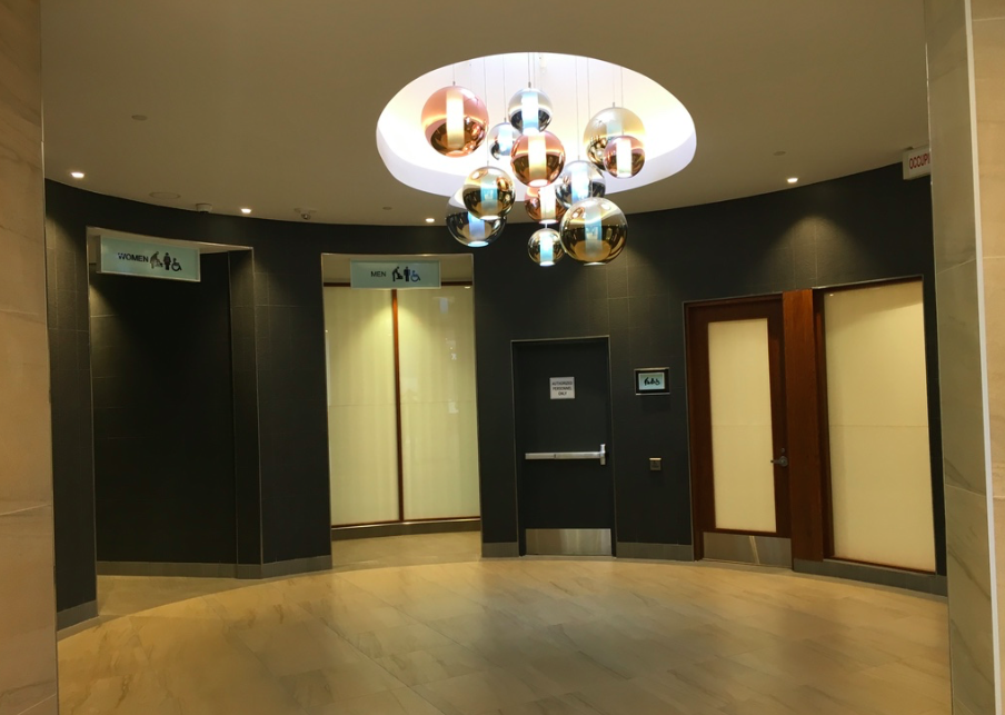 Impressive entryway to the mall's main washrooms. Photo: Christa Patterson