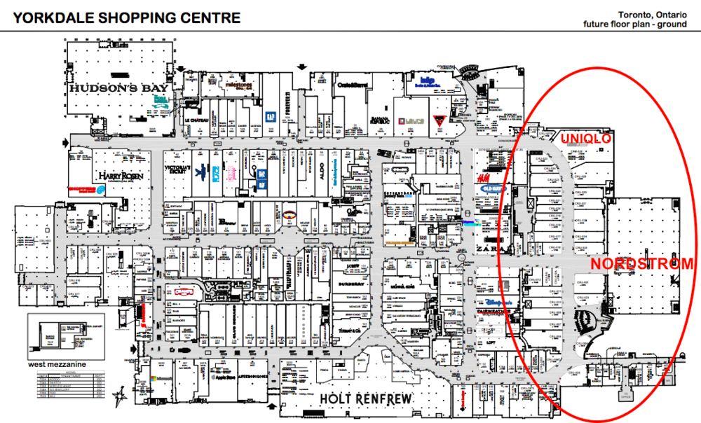 (Yorkdale's new 300,000 sq ft, $331 million expansion wing is circled in red)