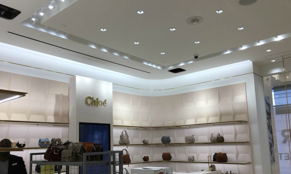 (Chloé accessories shop-in-store. We cropped the photo to cut out some construction work).