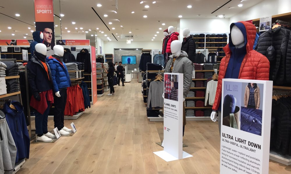 The first floor contains some of Uniqlo's most popular product offerings, including their signature ultra light down jacket.