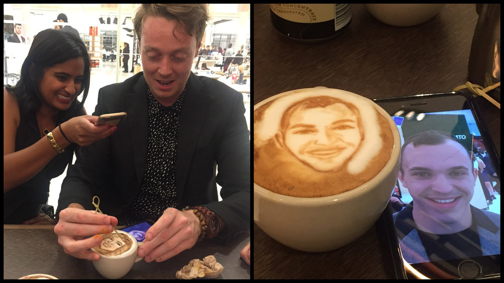 (Talented coffee artist  Michael Breach  entertained attendees in the store's new 'Ebar' during the October 19 gala. The photo on the right is of Retail Insider's Devon Johnson).