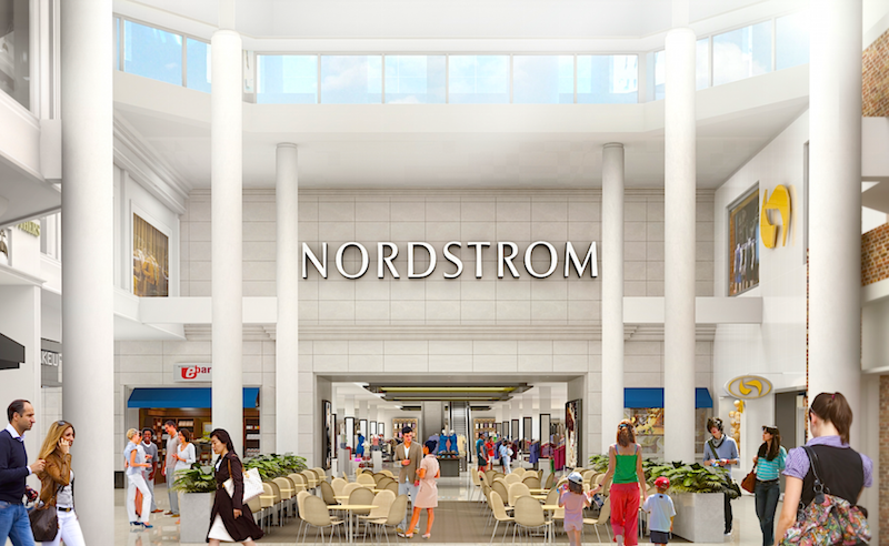(Rendering of the mall entrance to Sherway's Nordstrom store, opening September 15, 2017)
