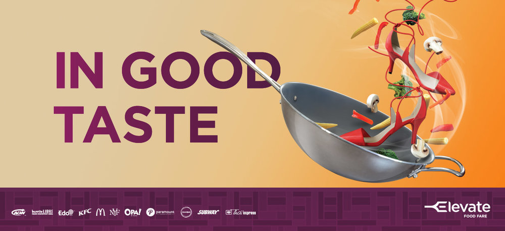 (Marketing campaign for the new 'Elevate Food Fare', opening to the public tomorrow)