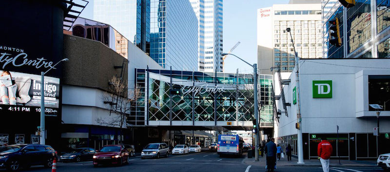 (Pedway over 101 Street, joining Edmonton City Centre 'East' and 'West'. The 'West' portion was formerly the Eaton Centre. Photo: Oxford Properties)